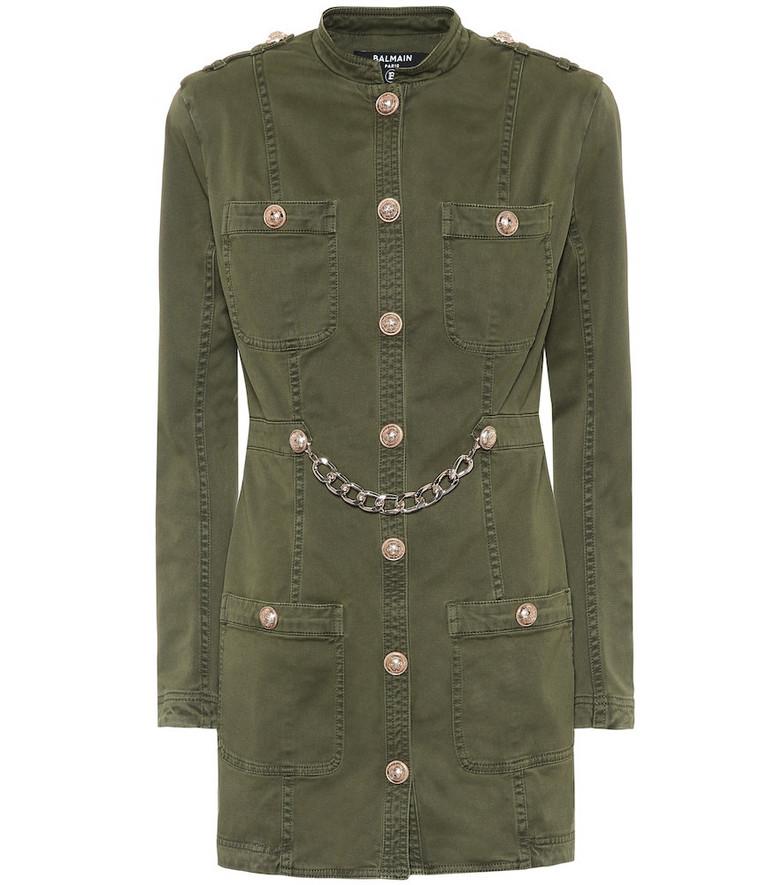 Balmain Stretch-cotton twill dress in green