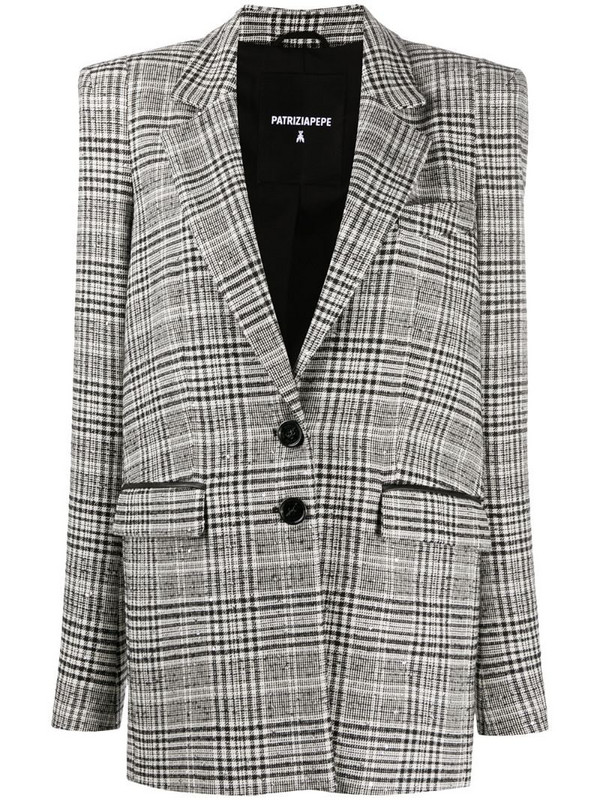 Patrizia Pepe check oversized blazer in black