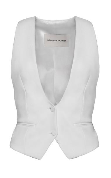Alexandre Vauthier Satin Blazer Vest Size: 36 in white