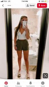 shorts,green,summer,paperbag,cute,green shorts,cute shorts,outfit,outfit idea,army green,summer outfits