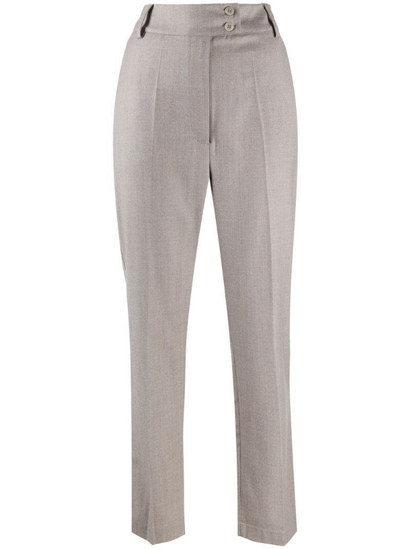 Gentry Portofino high-waisted straight trousers in grey