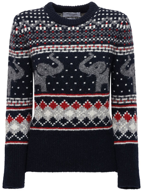 THOM BROWNE Wool & Mohair Knit Sweater in blue / multi
