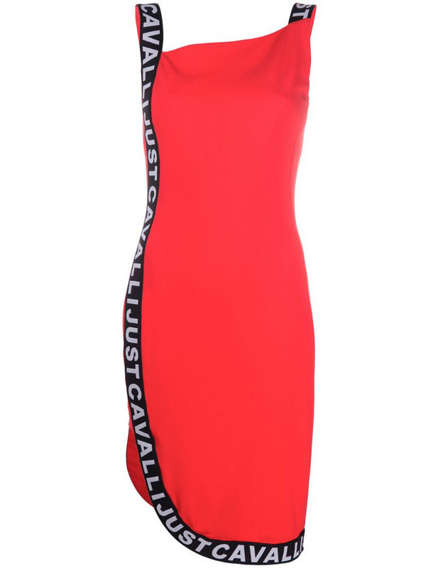 Just Cavalli logo-tape bodycon dress in red