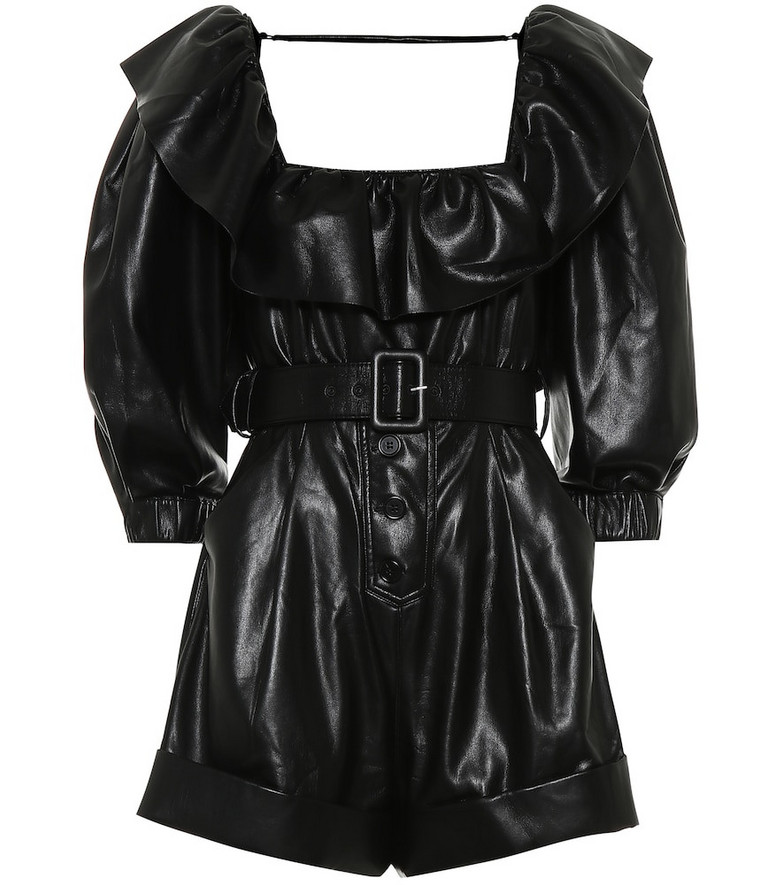 Self-Portrait Faux leather playsuit in black