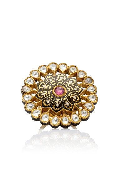 Madhuri Parson Mosaic 23K Yellow-Gold Cocktail Ring Size: 6 in multi