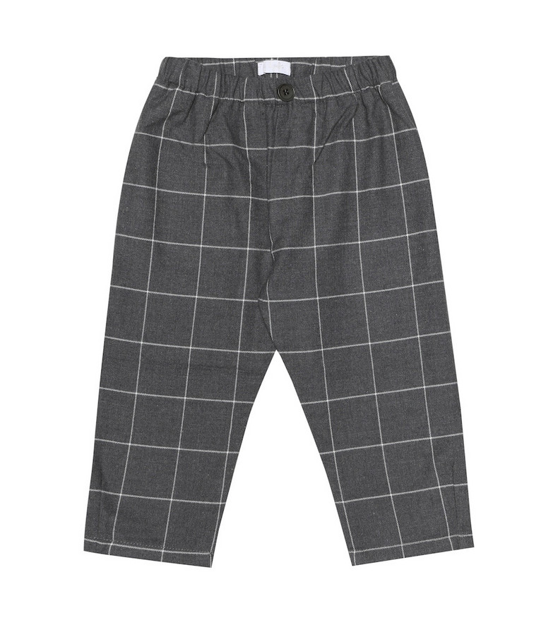 Il Gufo Baby checked cotton pants in grey