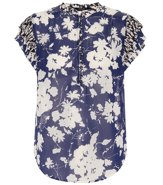 Polo Ralph Lauren Floral-printed top in blue