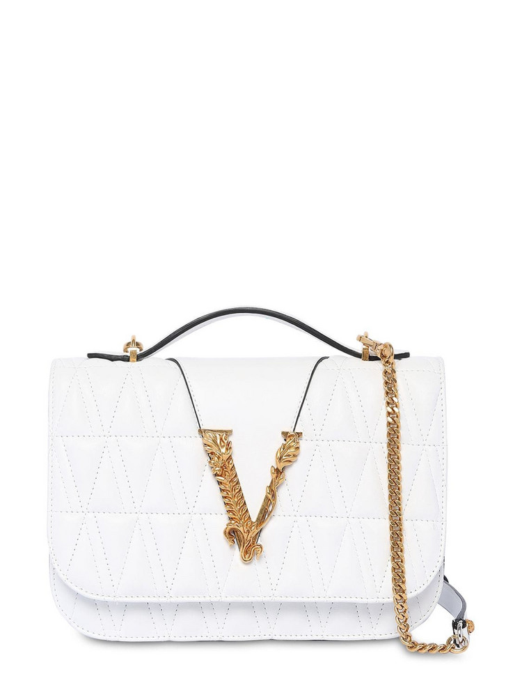 VERSACE Virtus Quilted Leather Shoulder Bag in white