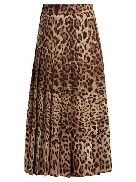 Dolce & Gabbana - High Rise Pleated Wool Blend Midi Skirt - Womens - Leopard
