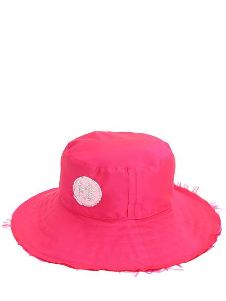 RUSLAN BAGINSKIY Crystal Embellished Satin Panama Hat in pink