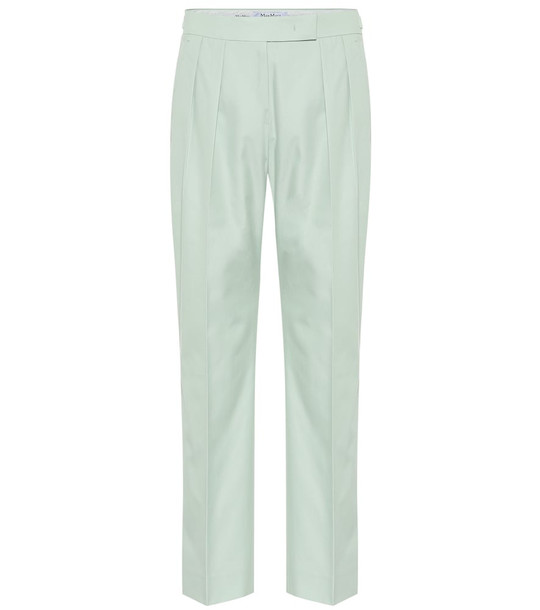 Max Mara Lucas cotton high-rise pants in green