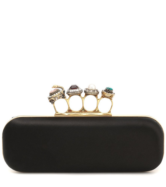 Alexander McQueen Jeweled Four-Ring silk clutch in black