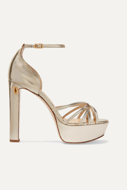 Jennifer Chamandi - Roby 130 Metallic Leather Platform Sandals - Gold