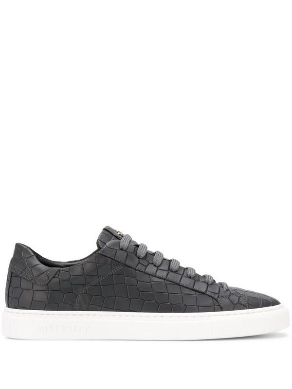 Hide&Jack crocodile-effect low-top sneakers in grey