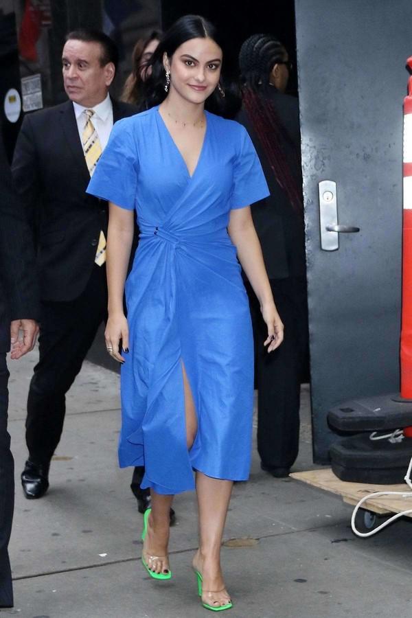 dress wrap dress midi dress blue blue dress camila mendes