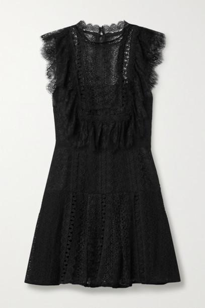 Self-Portrait - Grosgrain-trimmed Paneled Lace Mini Dress - Black