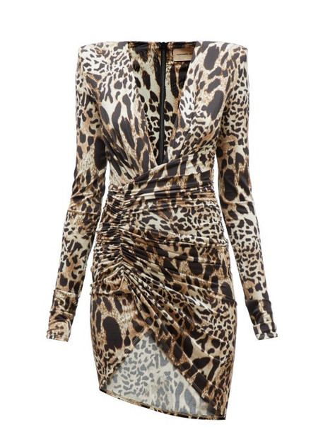 Alexandre Vauthier - Plunge Neck Lynx Print Jersey Mini Dress - Womens - Leopard