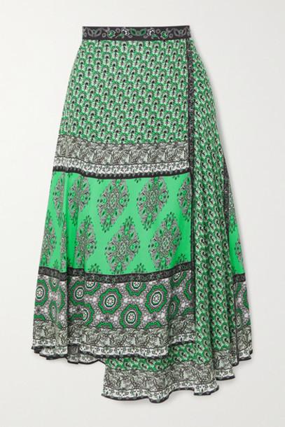 Alice + Olivia Alice Olivia - Nanette Wrap-effect Printed Crepe Midi Skirt - Green