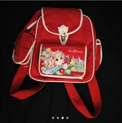 bag,mini red backpack with anime artwork on front pocket