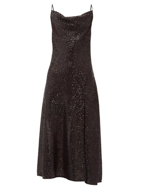 Jonathan Simkhai - Sequin Embellished Cowl Neck Midi Dress - Womens - Black