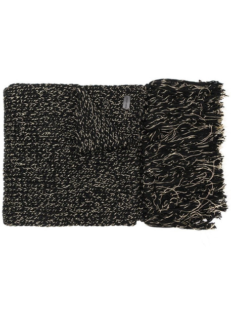 Saint Laurent fringed knitted scarf in black