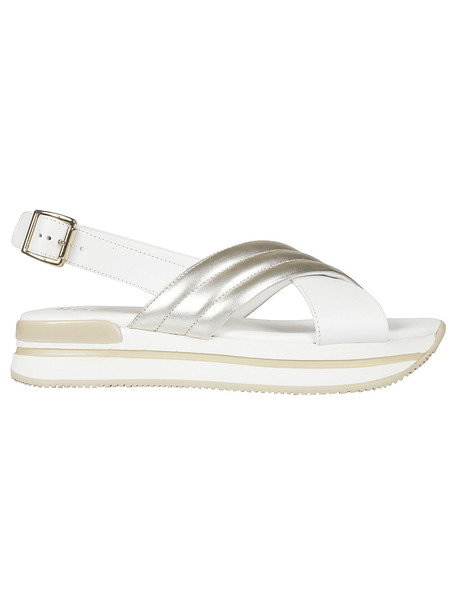 Hogan Cross Strap Sandals in gold