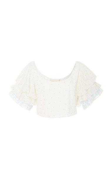 LoveShackFancy Christine Ruffle Sleeve Crop Top Size: S in print