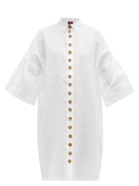 Albus Lumen - Lerache Textured Button Linen Mini Shirtdress - Womens - White