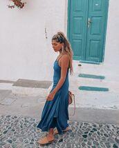 dress,midi dress,asymmetrical dress,slippers,bag