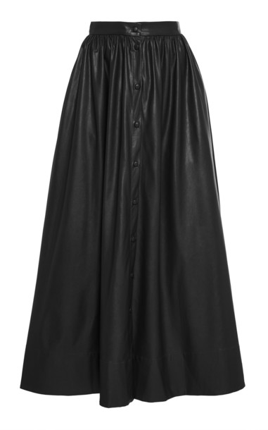 Deitas Bell Organic Vegan Leather Button Down Skirt in black