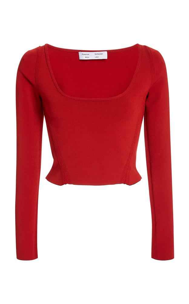 Proenza Schouler White Label Scoop-Neck Compact-Knit Crop Top in red