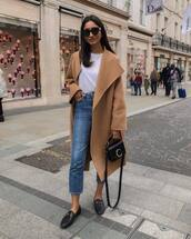 jeans,cropped jeans,high waisted jeans,topshop,loafers,black bag,camel coat,white t-shirt