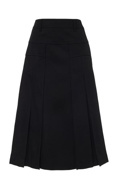 Prada Contrast Wool Midi Skirt in black
