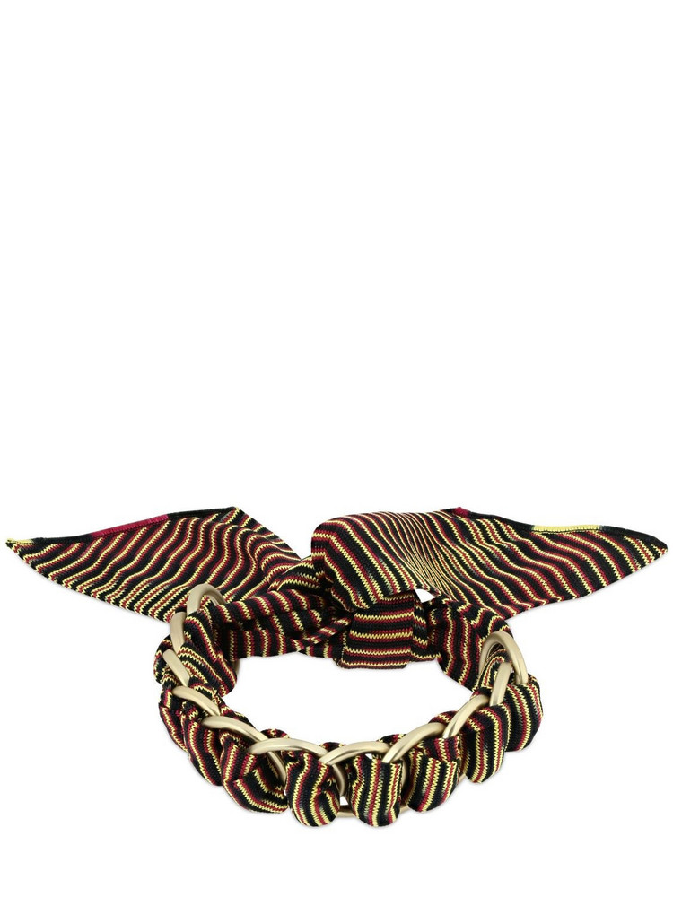 MISSONI Printed Viscose Scarf Bracelet W/ Chain in blue / yellow