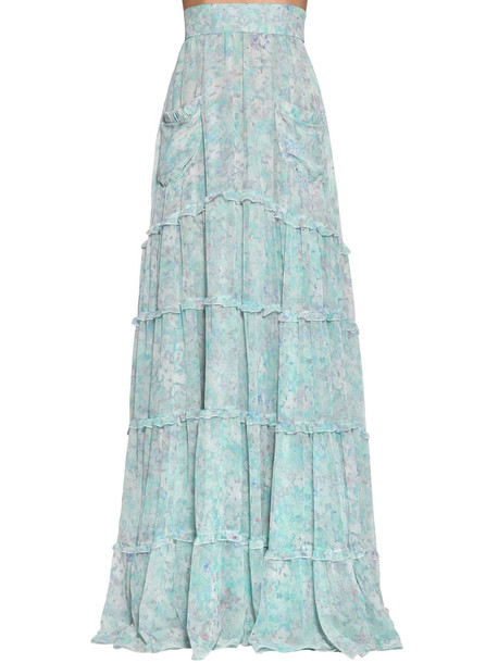 LUISA BECCARIA Long Floral Print Georgette Skirt in blue