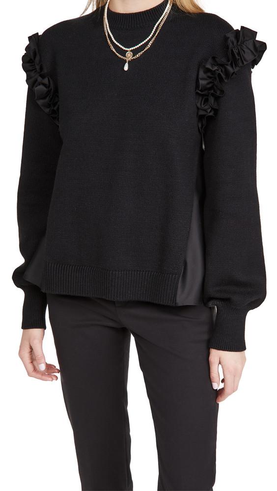 Adeam Ruffle Sweater in black