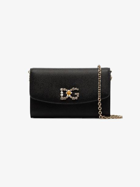 Dolce & Gabbana Black leather crystal logo shoulder bag