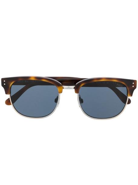 Polo Ralph Lauren half-frame tinted tortoiseshell sunglasses in brown
