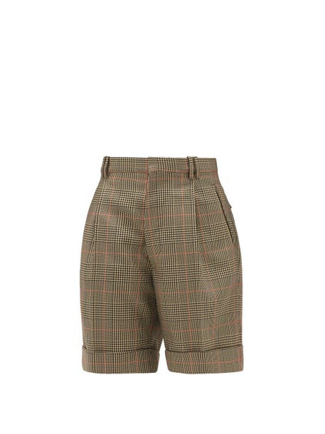 Maison Margiela - High-rise Checked Twill Shorts - Womens - Green Multi