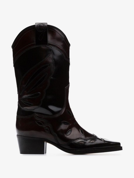 Ganni black Marlyn 45 polished leather cowboy boots