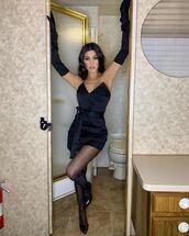 dress,all black everything,celebrity,kourtney kardashian,kardashians,mini dress,black dress,tights