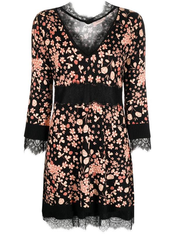 Twin-Set floral-print lace-trim dress in black