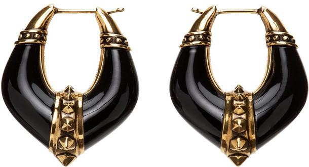 Alexander McQueen Gold & Black Evening Hoop Earrings