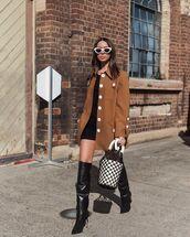 shoes,over the knee boots,bucket bag,jacket,black dress,mini dress