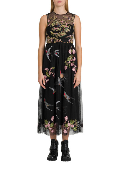 RED Valentino Swallows And Flowers Embroidered Tulle Dress in nero
