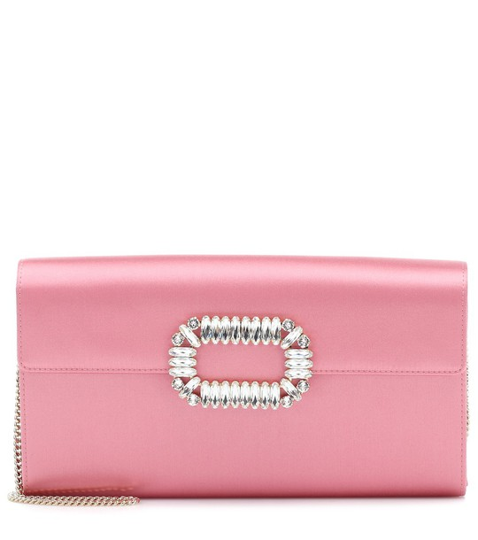 Roger Vivier Exclusive to Mytheresa – Evening Envelope satin clutch in pink