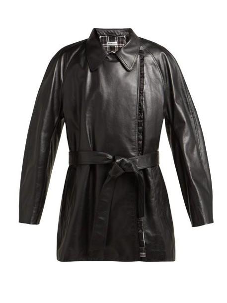 Balenciaga - Belted Leather Coat - Womens - Black