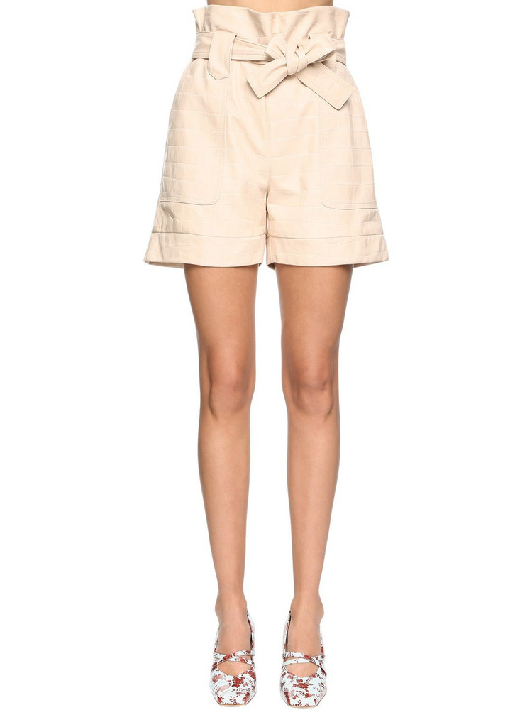 DROME Croc Embossed Leather Shorts in beige