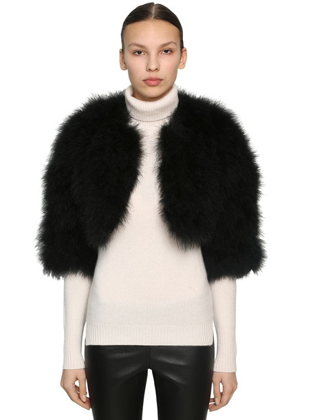 YVES SALOMON Cropped Feather Jacket in black