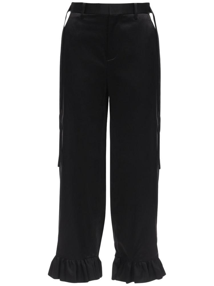NOIR KEI NINOMIYA Silk Satin Pants W/ Straps in black
